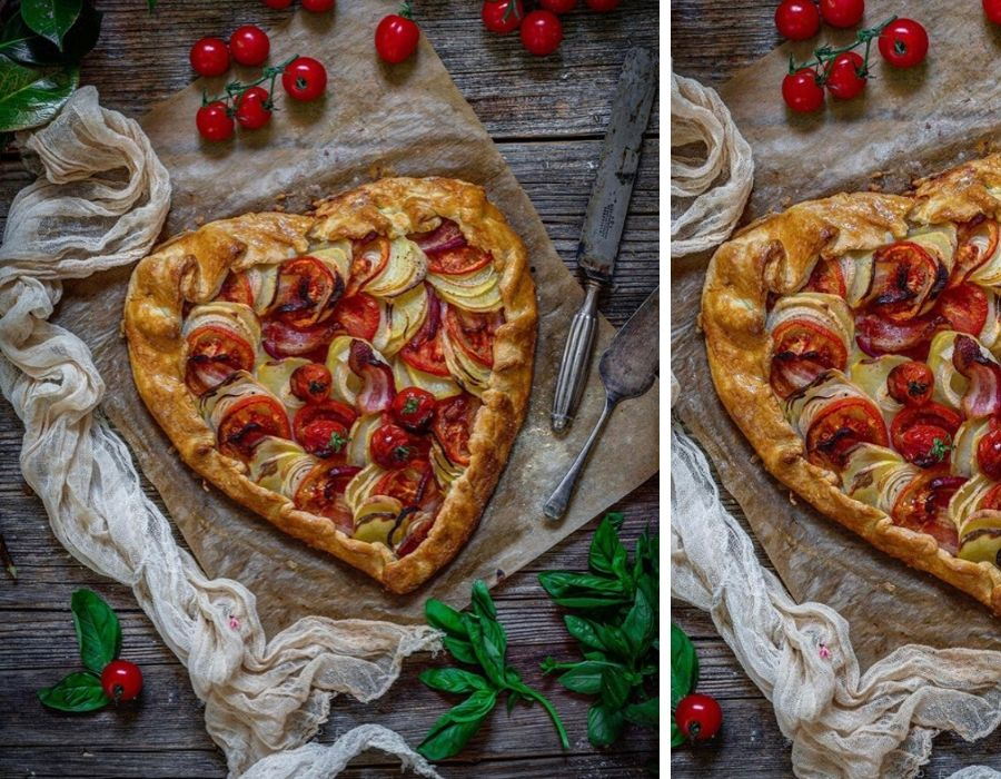 Galette de tomate, patata y bacon