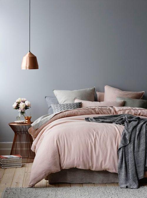 Decoración con rosa cuarzo y gris
