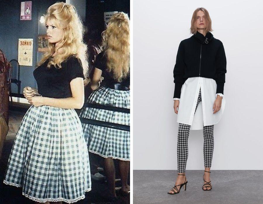 Brigitte Bardot y una propuesta de Zara  Foto: Pinterest - Zara.