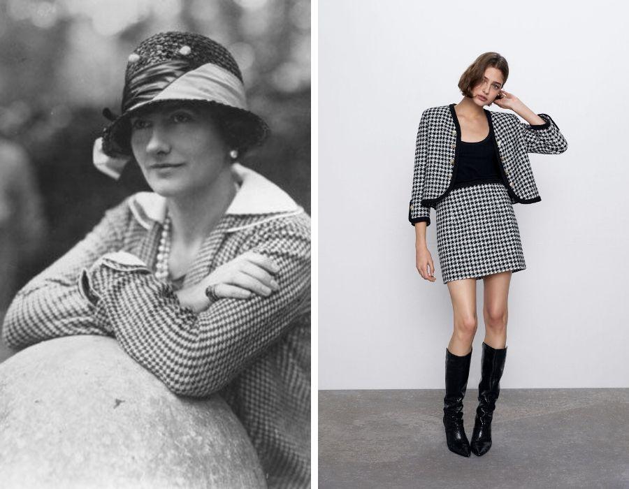 Coco Chanel con uno de sus diseños con el estampado de pata de gallo. Al lado, una propuesta de Zara   Foto: Pinterest -Zara.