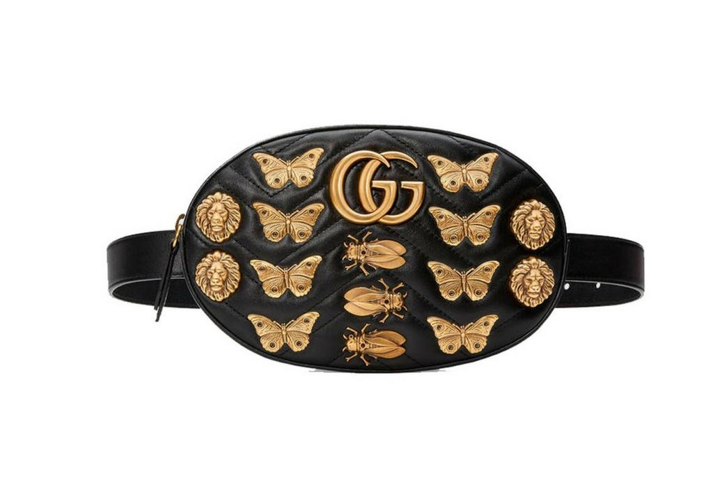 Bandolera GG Marmont de Piel con Tachuelas de Animales, de Gucci