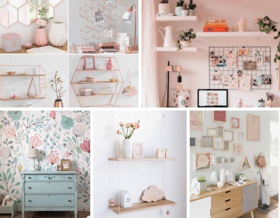 Baldas, estanterías, cuadros y papel para la pared son ideas para decorar las paredes de tu habitación