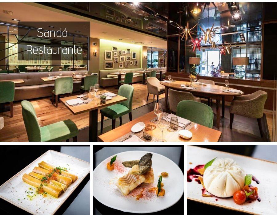 Sala y platos del Restaurante Sandó