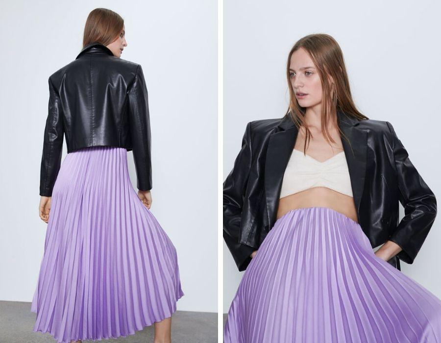 Blazer corta de cuello solapa y manga larga. Cierre delantero cruzado con botones y falda de tull lila